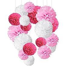 Pompón de papel de seda, bolas de papel en forma de flor para fiestas de cumpleaños, bodas, baby shower, shower de novia o decoración de festivales, 18 unidades de color rojo rosa, rosa y blanco, de Recosis