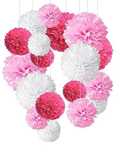 Recosis 18 Stück Seidenpapier Pompoms Blumen Ball Dekorpapier Kit für Geburtstag Hochzeit Baby Dusche Parteien Hauptdekorationen und Partei Dekoration - Rosa, Pink und Weiß