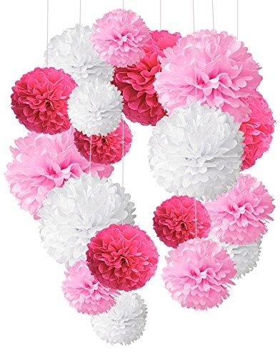idenpapier Pompoms Blumen Ball Dekorpapier Kit für Geburtstag Hochzeit Baby Dusche Parteien Hauptdekorationen und Partei Dekoration - Rosa, Pink und Weiß (Mädchen Geburtstag-ideen)