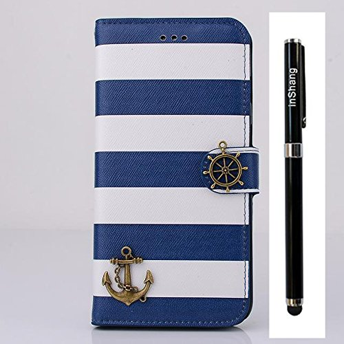 "inShang Hülle für Apple iphone 6 Plus 5.5 inch iPhone 6+ iPhone6 5.5"", Cover Mit Modisch Klickschnalle + Errichten-in der Tasche + ZEBRA STRIPE SHIP DECORATION, Edles PU Leder Tasche Skins Etui Schutz stripe ship navy blue"