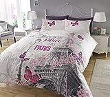 Juego de cama con diseño de Paris, de Pieridae, funda de edredón y funda de almohada, impresión digital, Gris, Doublé