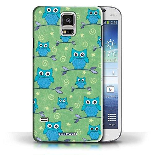 Etui / Coque pour Samsung Galaxy S5/SV / Jaune/Violet conception / Collection de Motif Hibou Bleu/Vert