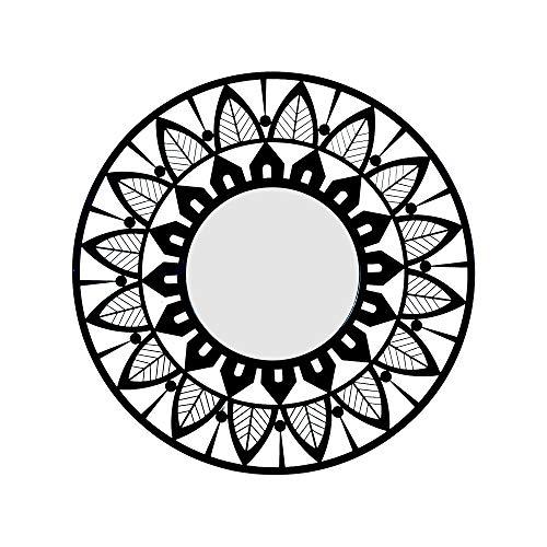 Home Gadgets Espejo de Pared Redondo Floral Metalico 50 cm