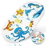 Yosemy Tappetino da Bagno Antiscivolo Tappetini per Bambini con Ventose Cartone Animato Tappetino da Bagno per Neonati, Blu Octopus
