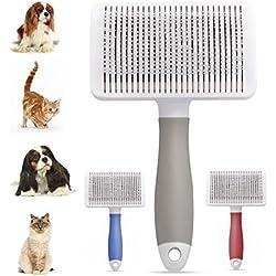 Cepillo para Quitar El Pelo Muerto de Perros y Gatos con Púas Flexible de Acero Inoxidable, Peine de limpiar Mascotas y Dar Masaje