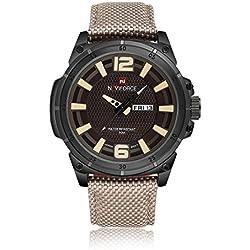 NAVIFORCE Men Sports Watches Men's Quartz Hour Date Clock Man Nylon Strap Military Army Waterproof Wrist Watch (Beige)
