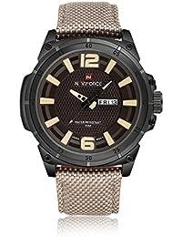 UnitedPower® NAVIFORCE Reloj de cuarzo analógico deporte de la manera de los hombres con la venda de nylon, Beige
