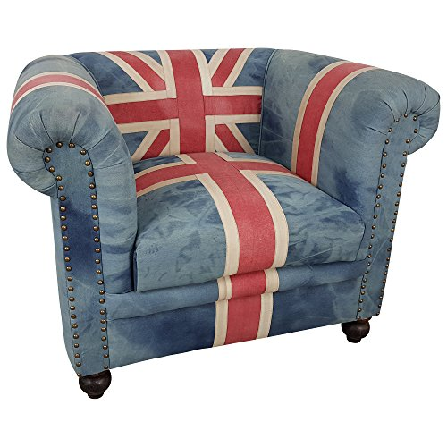 Indoortrend.com Clubsessel Polster-Sessel Lounge Union Jack UK Flagge Motiv England Chesterfield