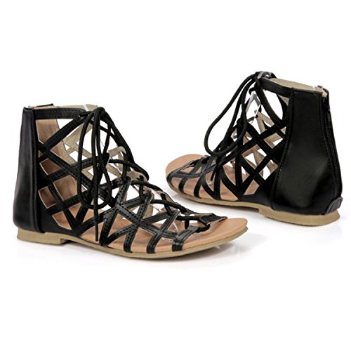 Oasap Women's Open Toe Lace-up Flat Gladiator Sandals Black