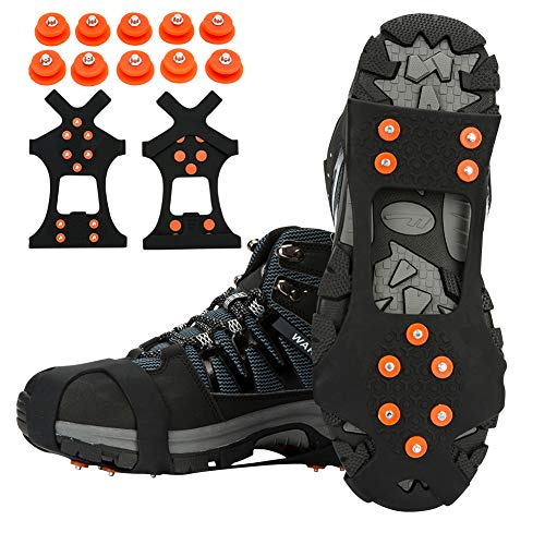 TBoonor Schuhspikes Schuhkrallen Ice Klampen Schnee Spikes Steigeisen Eiskrallen Anti Rutsch mit 10 Spikes für Schnee und EIS (Orange rot, M 35-40 (EU)) 10 Schnee
