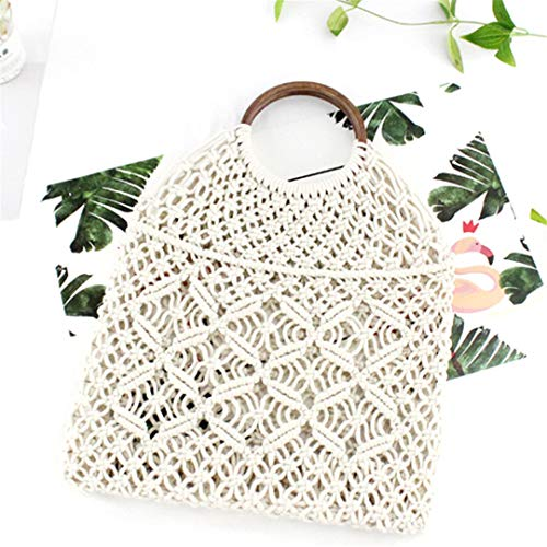 Baumwollseil Hohl Stroh Tasche Sheer Macrame Tote Holz Ring Rattan Griff Net Bag Vintage Retro Handtasche White Brown Handle Couture Sheer