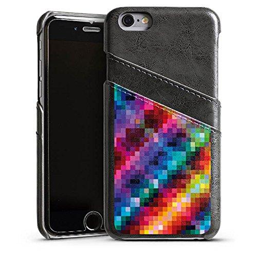 Apple iPhone 5s Housse Étui Protection Coque Pixel couleurs Motif Étui en cuir gris