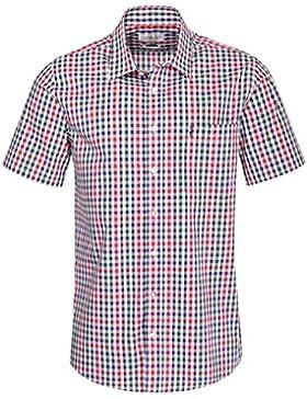 Almsach Kurzarm Trachtenhemd Franzl Regular Fit mehrfarbig in Rot und Dunkelgrün inklusive Volksfestfinder
