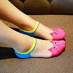 Ogquaton 5 Piezas Lindo Gato Calcetines para Barco Mujeres Cristal algodón Medias de Vidrio Invisible Nuevo lanzado