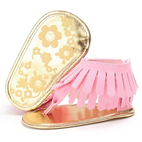 Clode® Fleur nouveau-née semelle molle anti-dérapante sandales pour bébé (6 ~ 12mois, Noir) Rose