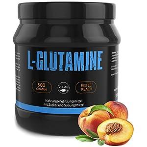 GYM-NUTRITION® — L-GLUTAMIN Ultrapure Pulver – extra hochdosiert & 99,5 % rein – proteinogene Alpha-Aminosäure, vegan – ideal für Body-Builder — Made in Germany — 500-g, Geschmack: BLAUBEERE