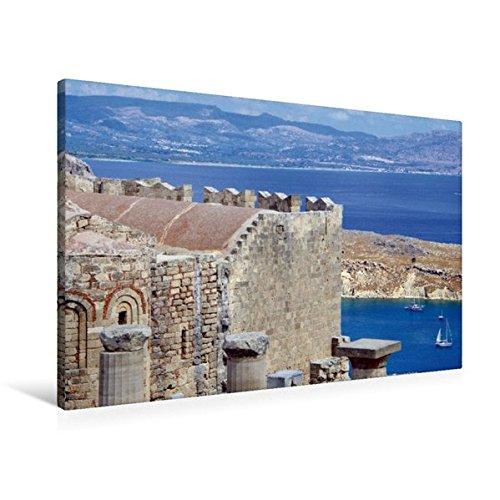Preisvergleich Produktbild Premium Textil-Leinwand 90 cm x 60 cm quer, Blick von der Akropolis über den Hafen von Lindos | Wandbild, Bild auf Keilrahmen, Fertigbild auf echter Leinwand, Leinwanddruck (CALVENDO Orte)