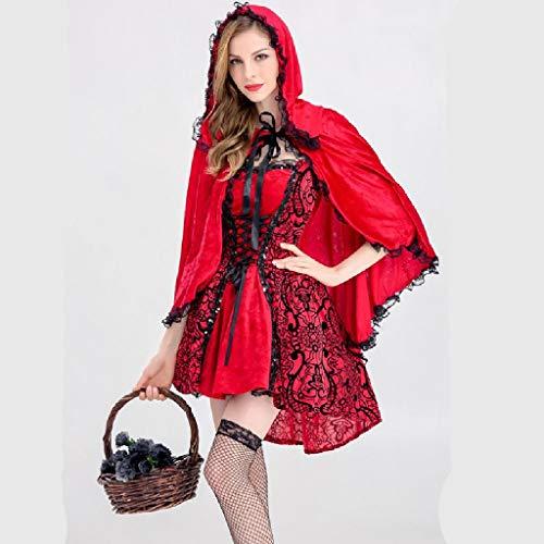 Weihnachtsfeier Kostüm - TcooLPE Frauen Rotkäppchen Kostüm Halloween Weihnachtsfeier Rolle Spielen Erwachsene Cosplay Kleid Kostüm for Frauen Rotkäppchen Cosplay Halloween Karneval (Size : M)