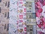 10 fogli di carta regalo,maschile/femminile grafiche assortite: farfalle, fiori, regali, uccellini, auto d'epoca, etc...(1 foglio per ogni grafica)