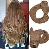 Clip in Echthaar Extensions Remy Haarverlängerung Echthaar70g 7 Stück 18 in Silky Straight Weft Golden Brown Remy Haar