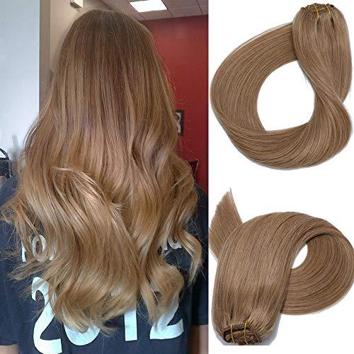 Clip in Echthaar Extensions Remy Haarverlängerung Echthaar 70g 7 Stück 20 in Silky Straight Weft Golden Brown Remy Haar