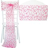 TtS 1pcs Flocked Organza Chair Cover Sashes Bow Wedding Party Birthday - Leaves B Pattern Pink