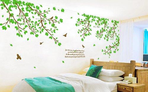 WallStickersDecal Riesige grüne Paar Baum Wandtattoo Sticker 6 Wege zu gelten 170cm (H)