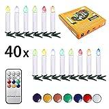SunJas 40er Weihnachten Kerzen RGB, kabellose Weihnachtskerzen mit Fernbedienung, Weihnachtsbeleuchtung, LED Kerzen in 3 verscheidene Blinkeffekt,  für Weihnachtsbau