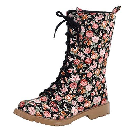 Coolulu Damen Blumen Stiefeletten Halbstiefel Flache mit Schnürung Ankle Boots Blumenmuster Elegant Schuhe (Schwarz,41)