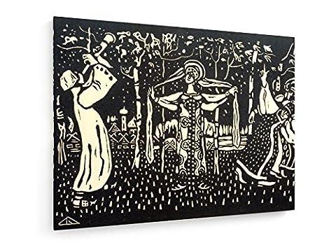 Wassily Kandinsky - Schalmei - Heliogravüre 1907 - 60x45 cm - Textil-Leinwandbild auf Keilrahmen - Wand-Bild - Kunst, Gemälde, Foto, Bild auf Leinwand - Alte Meister / (Russische Folklore Kostüme)