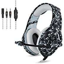 Camuflaje Auriculares Gaming Micrófono Cascos Juegos Estéreo para PS4/Xbox One/PC/Mac/Tablet/Teléfono, Enchufe simple de 3,5 mm + cable corto para DualShock 4 Mando Inalámbrico - Gris