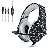 ONIKUMA - Camuflaje Auriculares Gaming Micrófono Cascos Juegos Estéreo para PS4 / Xbox One / PC / Mac / Tablet / Teléfono, Enchufe simple de 3.5 mm + cable corto para DualShock 4 Mando Inalámbrico, Gris