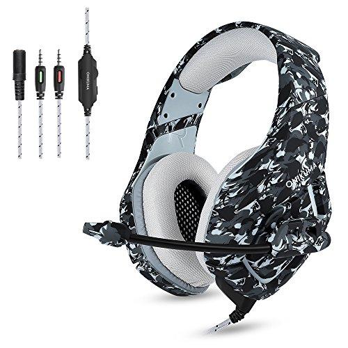 Preisvergleich Produktbild ONIKUMA Gaming Kopfhörer PS4 Headset Camouflage, K1-B 3,5mm Stereo mit Mikrofon Stumm In-Line (Clip) Lautstärkeregler für Sony Playstation 4 Xbox One PC Mac iPad Tablet Smartphone - Grau