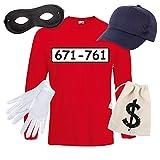 Langarm T-Shirt SET PANZERKNACKER Kostüm Karneval Fasching Verkleidung Outfit SET06 T-Shirt/Cap/Maske/Handschuhe/Beutel L