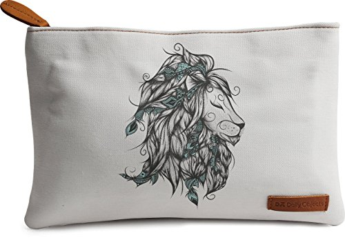 DailyObjects Poetic Lion Turquoise Carry-all Pouch Medium