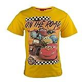 Disney Cars Kinder T-Shirt aus Jersey Baumwolle, Rennwagen Lightning McQueen Kurzarm Shirt für Jungen - Tshirt Farbe: Gelb, Gr. 94