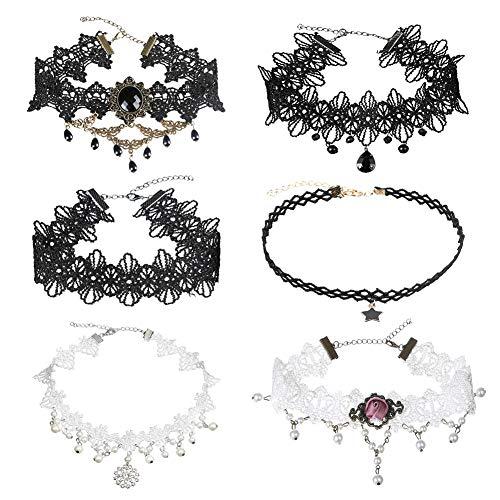 EQLEF Choker Halsband , Gothic Anhänger Halskette Tattoo Choker für Frauen Teens Mädchen Weiß und Schwarz (Packung mit 6)