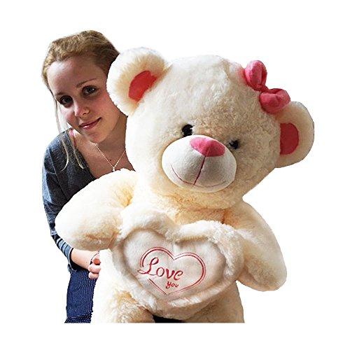 Riesenteddy Plüsch Kuscheltier Kuschelbär Teddybär mit Herzkissen Love you 80 cm creme