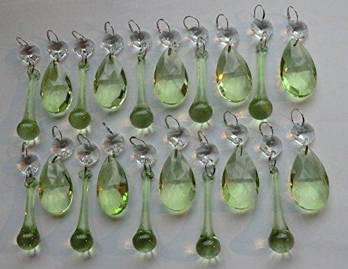 Auswahl an verschiedenen Kronleuchter-Verzierungen, Bundle-Sets in transparenten oder bunten, geschliffenen Glaskristalle in Tröpfchen- oder Perlenstil, vewendbar als Christbaumschmuck, für eine Vintage-Hochzeit, als Anhänger, Tischdekorationen, Prismen, antike Qualitätskunst-Deko. Retro-Perlen-Ersatz, Lichtkunst, Party -Utensilien, ausgesuchtes Bundle-Set von Seear Lights. Art Deco SAGE 20 (Eiszapfen-stil, Licht)