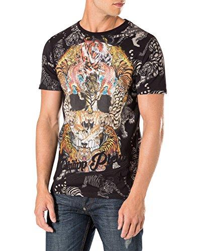 Philipp plein - maglietta da uomo tiger skull - nero, s