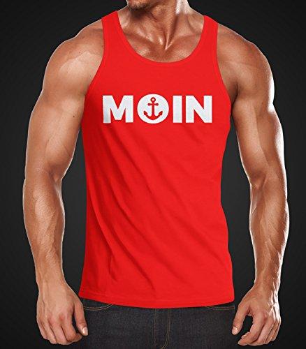 Cooles Herren Tanktop Moin mit Anker Moonworks® Moin rot