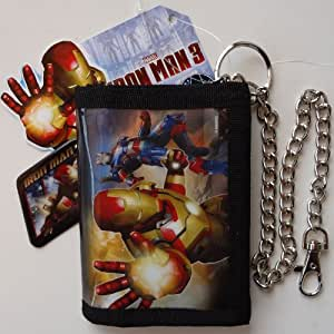 MARVEL COMICS IRON MAN 3 Trifold Black Wallet Zipped Coin Purse Credit ID Card Holder Metal Hipster Silver Biker Chain Trouser Jeans Belt Clip Boys Kids Childrens Toys