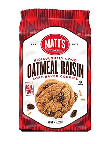 Matt's Oatmeal Raisin Chip Cookies, Soft-Baked and Chewy, Gluten-Free, 14oz, 398gr, 6 Pack