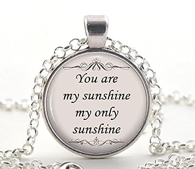 Vous êtes mon collier de citation de soleil, pendentif de cout de l'argent, idée unique de cadeau de bijoux pour les femmes