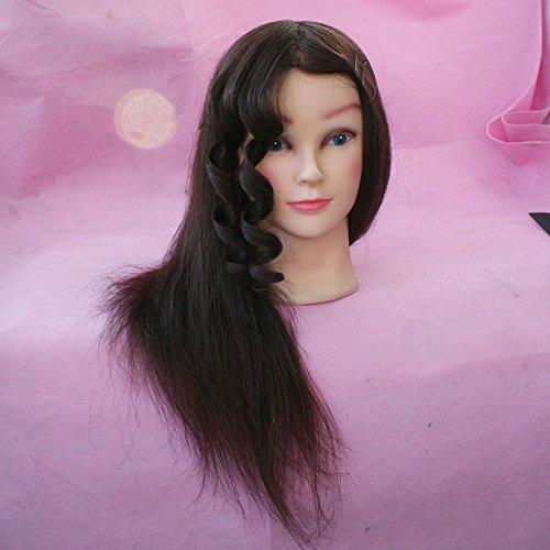 topbeauty 65% Vrais Cheveux Humains 50,8 cm Formation Mannequin Head Formation Coiffure Head w/Collier de serrage pour Collège et professionnel à entraînement Perm et teinture