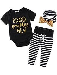 SAMGU Nouveau-né Bébé Garçon Baby vêtements Robe + Pantalon rayé + Bande 3pcs set