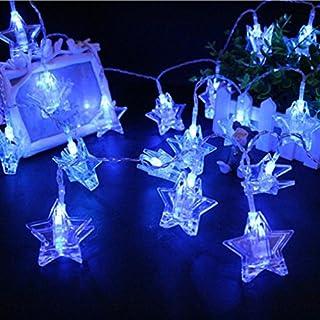 TAOtTAO Photo Clips String USB Lights,Star Shaped Clip Battery String Light,20 LED (Blue)
