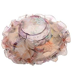 Vbiger Chapeau Femme Floral en Mousseline de soie pour Voyage Mariage Cérémonies (Beige 1, Tour : 56-57 cm)