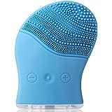 Amzdeal Brosse nettoyante Électrique pour le visage en Silicone Imperméable par Ultrason Vibration Appareil de nettoyage de peau avec Câble USB ( Bleu)