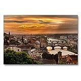 Calvendo Premium Lienzo 90 cm x 60 cm Horizontal, Florencia - Visión en el río Arno, Cuadro sobre Bastidor, Listo para Lienzo auténtico, impresión en Lienzo, Lugares